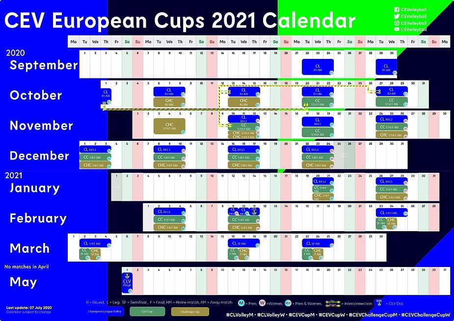 Volley   Calendrier des différentes Coupe d'Europe pour la saison