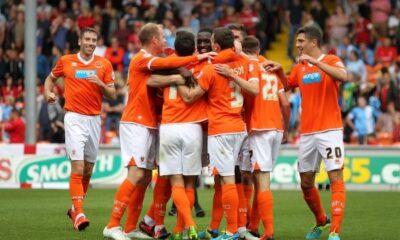 Les joueurs de Blackpool apres le but